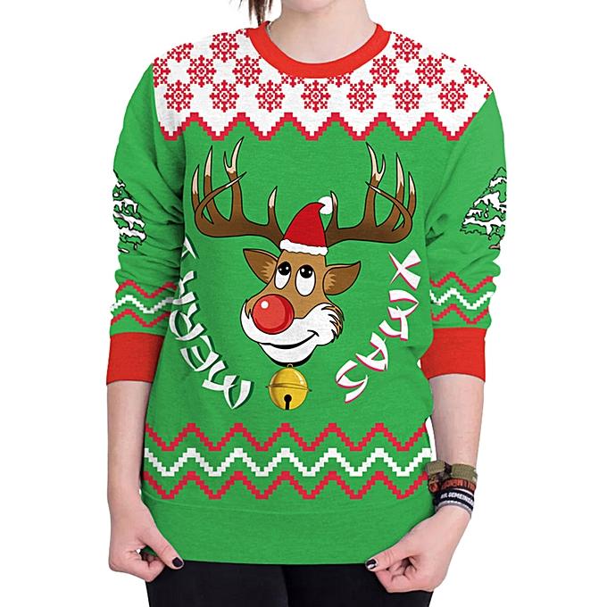 88df28fc3 Christmas Ugly Sweater Humping Reindeer Funny Sweatshirt - Green ...