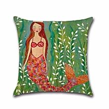 Cartoons Mermaid Cotton Linen Pillow Case Protector Cushion H04