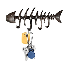 Fish FishBone Cast Iron Wall 4 Hook Coat Key Rack Metal Shabby Chic 20 cm New