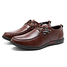 Fashion Men Metal Buckle Flat Lace Up Articial Leather Breathable Driving Casual Shoes