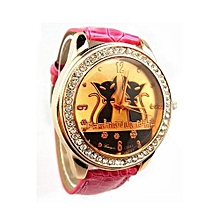 Leather Band Wrist Watch Rose-Red