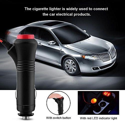 Universal 1 5m Male Car Cigarette Lighter Socket Plug Adapter On Off Switch Fuse 12v 24v