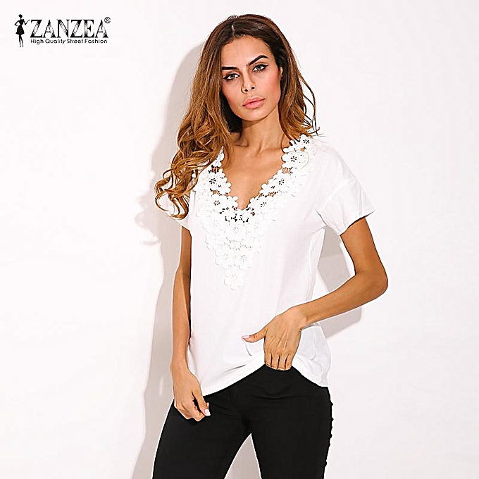 39ebb3ca692 ... ZANZEA Summer Spring Womens Casual Loose Short Sleeve V-neck Black Lace  Flower Collar Shirt ...