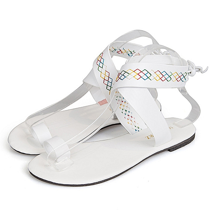 bc82490a2b021 Fashion Blicool Shop Women Sandals Women Cross Belt Rome Strappy Gladiator Low  Flat Flip Flops Beach Sandals Shoes- White