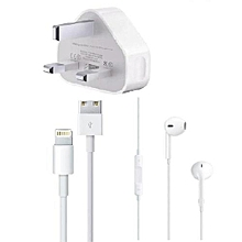 iPhone Charger With Free Quality Earphones  - White
