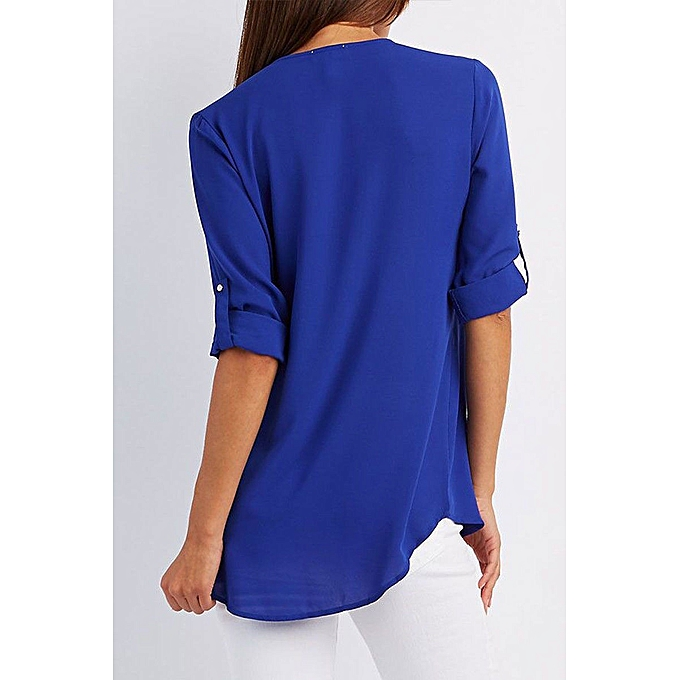 1160738b9da ... Woman New Chiffon Zipper V-collar Cardigan Roll Up Long Sleeve Loose  Shirt-Royal