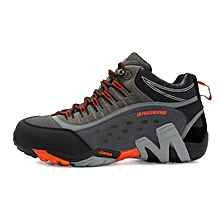 Winter Men Outdoor Hiking Mountain Climbing Shoes Anti-skid Leather Men Trekking Shoes Waterproof Sports Casual Shoes - Orange
