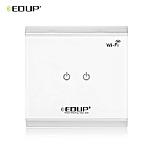 EP - 3713 WiFi Power Switch With Touch Panel Smart Home Automation Light 2 Gangs Switcher - White