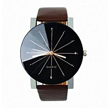 Dial Clock Leather Wrist Watch Round Case