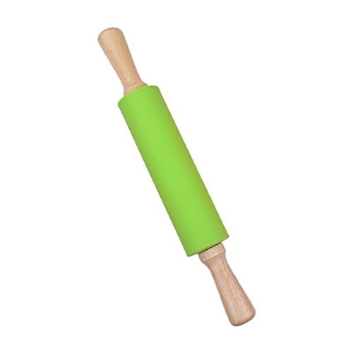Generic 1 Pc 8inches 38cm Rolling Pin Silicone Roller Wood Handle