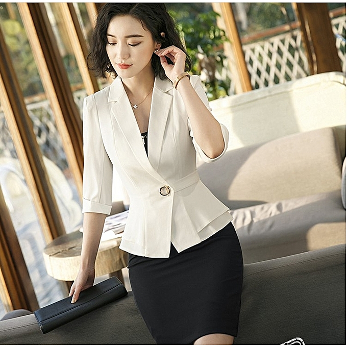 853188ad878f0 Generic New Sleeve Professional Pants Formal Office Lady Tops-white+ ...