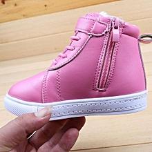 bluerdream-Children Shoes Autumn Winter Cashmere Children Martin Waterproof Boots PK/21-Pink