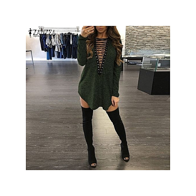 ZANZEA Spring Long Sleeve Lace Up Women Sexy Mini Dress Loose Casual Solid  Dress Bandage V 9eafeeb08
