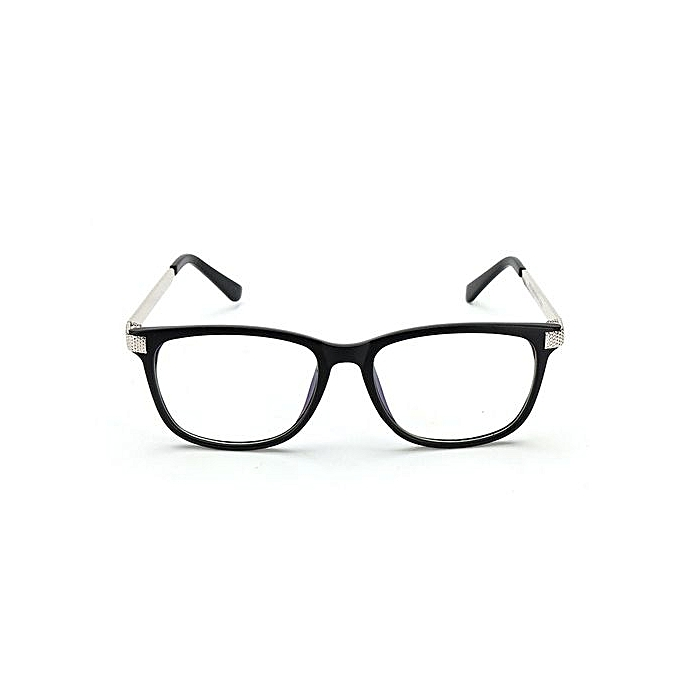6a76240850 Retro Unisex Eyeglass Frame Full-Rim Glasses Clear Lens Metal Women Men  Designer Black+
