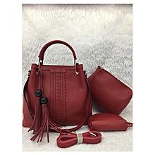 3 In 1Tassel Panelled Shoulder Handbag - Maroon