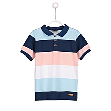 Multicolour Fashionable Striped Regular Crew Neck T-Shirt