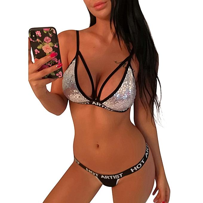 c9caa4b1e0 ... Women Two Piece Bralette Set Shiny Sequin Triangle Wireless Unpadded  Bandage Strappy Erotic Underwear Suit ...
