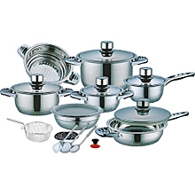 High Quality21Pcs Stainless Steel Casserole Set with Blue/Clear Covers