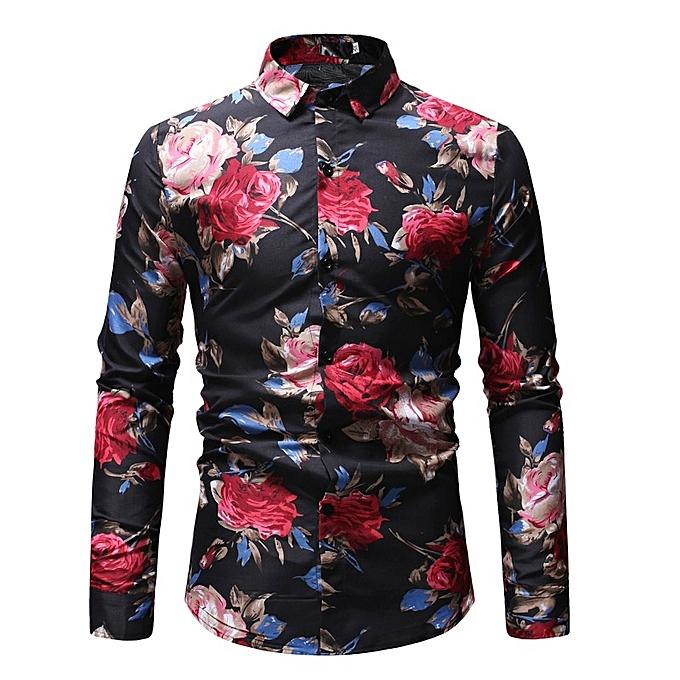a10e53b8679 Spring Floral Print Shirt for Men Long Sleeve Slim Flower Shirts-Black
