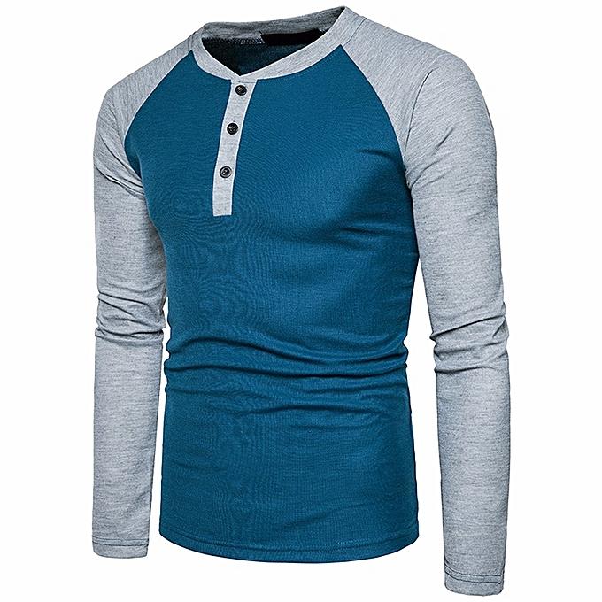Hiamok_Mens Casual Long Sleeve Shirt Slim Fit Shirt V Neck Patchwork  Blouse Top
