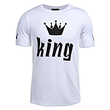 Hequeen 1PC King & Queen Couple Matching Shirts With Sleeve Print