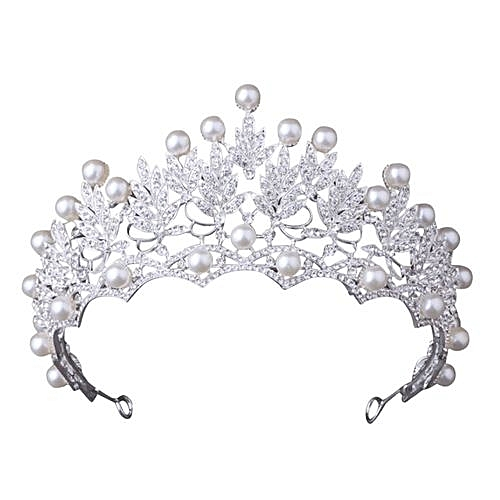 Generic Women Wedding Tiara Pearl Jewelry Shiny Bridal