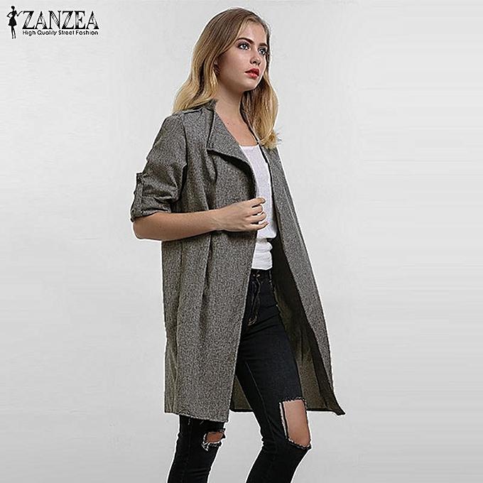 92d0e2fa987 ... ZANZEA Women Outerwear Spring Autumn Casual Loose Lapel Windbreaker  Cape Coat Thin Cardigan Jacket Coats Plus ...