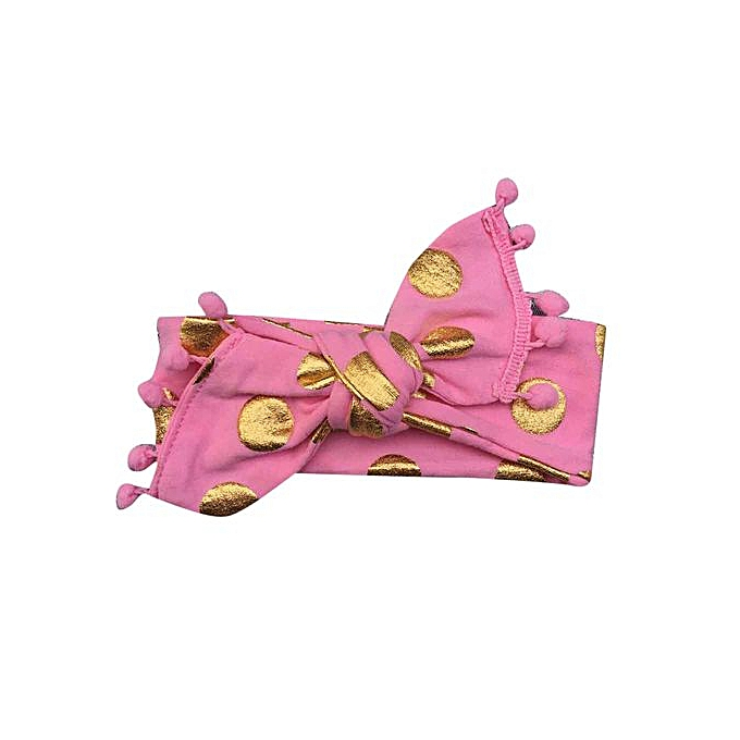 1f78580fb6f ... Braveayong Kids Girls Baby Headband Toddler Bowknot Gold Dot Hair Band  Accessories Headwear -Pink