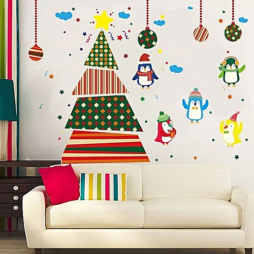 christmas tree penguins wall stickers window glass door decoration wall sticker multicolor