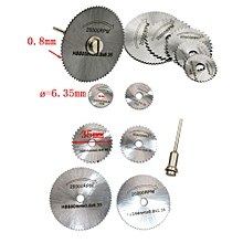6pcs HSS Saw Disc Wheel Cutting Blades For Drills Rotary Tools + Mandrel -Silver