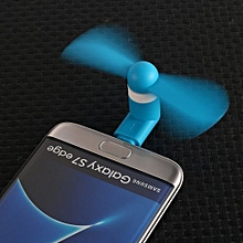 Micro USB Mobile Phone Fan - Portable Dock - Rotating Fan for Samsung Galaxy & Other Android Smart Phones - Blue