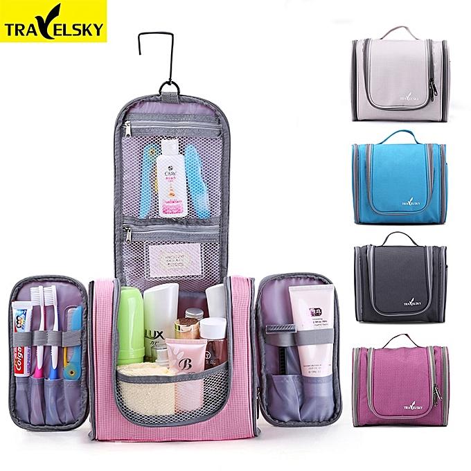 0de92750f6d6 Travelsky Family Travel Organizer Bag Hanging Toilet Makeup Bag Women's  Waterproof Washing Toiletry Handbags Men Cosmetic Bags(New Blue)
