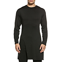 Men Casual Long Sleeve O Neck Solid Slim Long Hem Pullover T-Shirt ( Black )