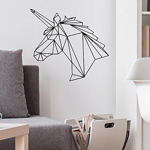 generic removable black art geometric unicorn vinyl wall sticker