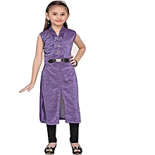 Purple long dress-top with black leggings