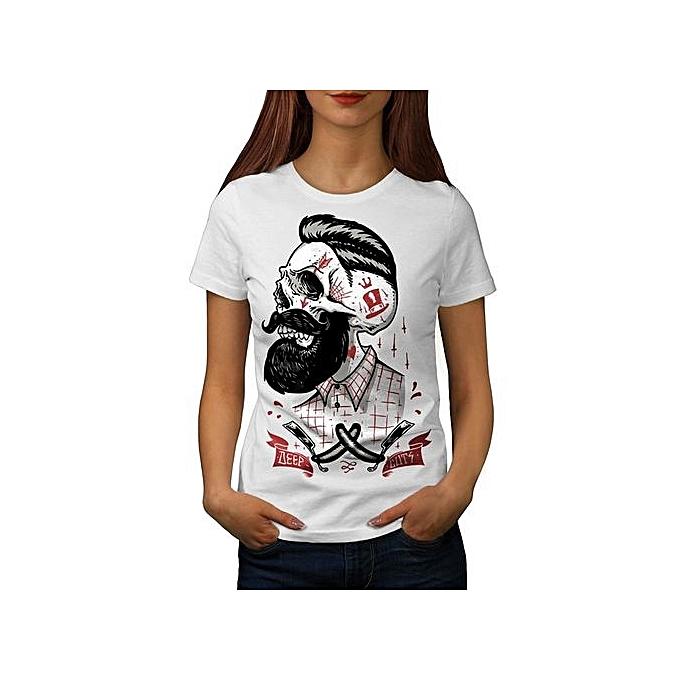 Skull Hipster Beard Movement Women O-Neck T-shirt S-2XL