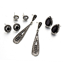 Bohemia Black Diamond Long Retro Zircon 4 Pair Stud Earrings Set Combination