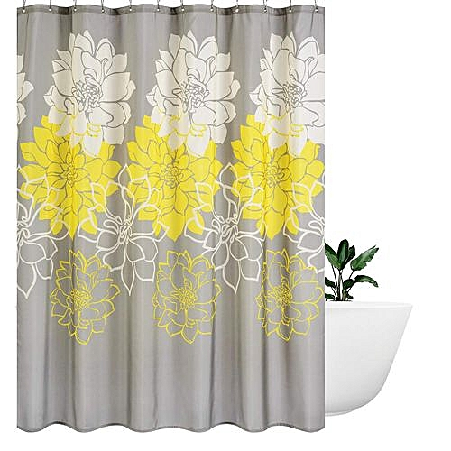 Generic Peony Flower Fabric Shower Curtain Mildew Resistant Waterproof Standard Bath For Bathroom Yellow And Grey Best Price