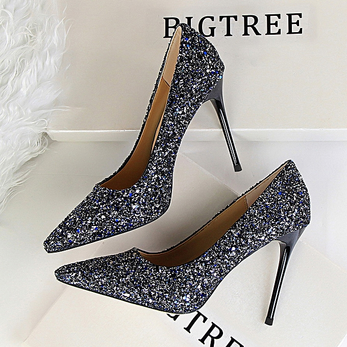 3261bf773 Women Shoes High-Heeled Shallow Mouth Pointed Shiny Sequins Sexy Thin Nightclub  High Heels Single