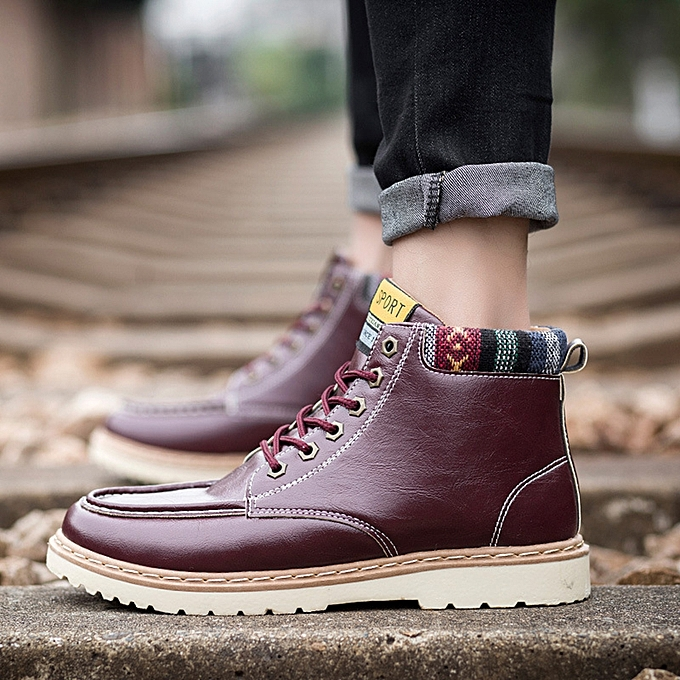 e8c2239565d Men Casual Soft Leather Ankle Boots Lace Up Boots Moc Toe Shoes
