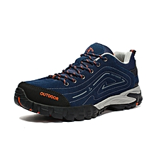 Autumn Winter Men Outdoor Shoes Hiking Mountain Climbing Shoes Breathable Anti-skid Trekking Shoes Leather Wearable - Blue