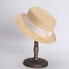 1fc9cde33e9b60 Women Summer Straw Hats Fashion Flat Top Boater Hat Men's Beach Sun