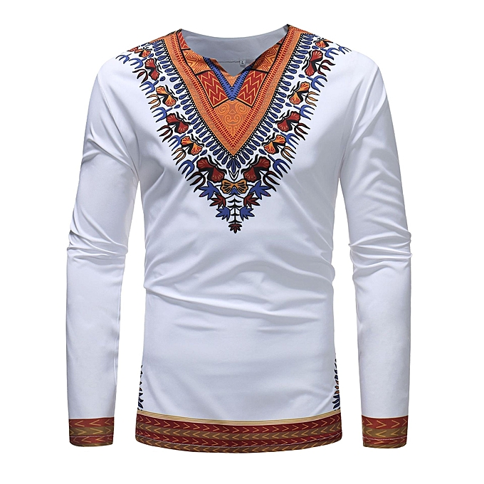 55ac9fcd4184 Generic Men's Long Sleeved African Style Printed Casual T-shirt ...