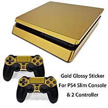 Gold Glossy Sticker Decal Skin For Playstation 4 PS4 Slim Console & 2 Controller