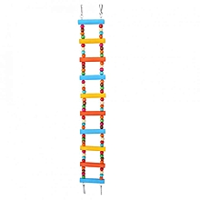 Parrot Pet Bird Hamster Colorful Wooden Ladder Swing Bridge Funny Climbing Toy (9 Steps)