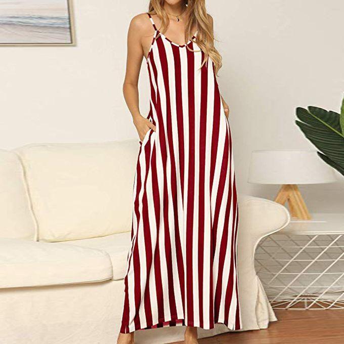 newest hot sale new cheap jiahsyc store Women's Summer Loose Flowy Striped Pockets Long Maxi Dress  Sundress