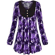 jiuhap store Women Plus Size Floral Print O-Neck Long Sleeve Blouse Pullover Tops Blouse-Purple