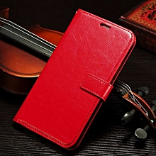 "For Mate7 Case, Slim Holster Soft Flip Leather Cover With Card Slot Stand Function For 6.0"" Huawei Mate 7, Red"