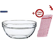 Fully Tempered Stackable Round Mixing Bowl 26 cm + FREE Gift Kitchen Towel.