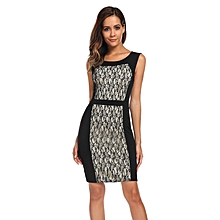 Women Sleeveless Lace Patchwork Pencil Dress Mini Package Hip Party (Black )